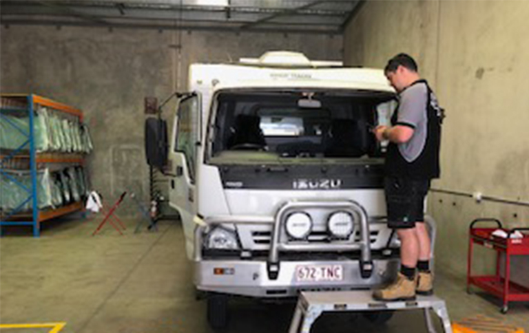 Image of windscreen repairs on a truck at Morayfield Autoglass